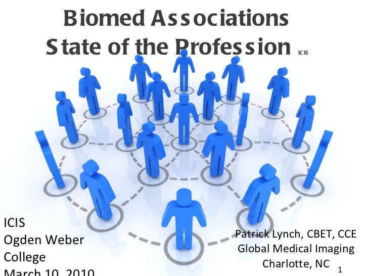 Biomed Associations State of the Profession  ICIS Patrick Lynch, CBET, CCE Global Medical Imaging Charlotte, NC ICIS Ogden...