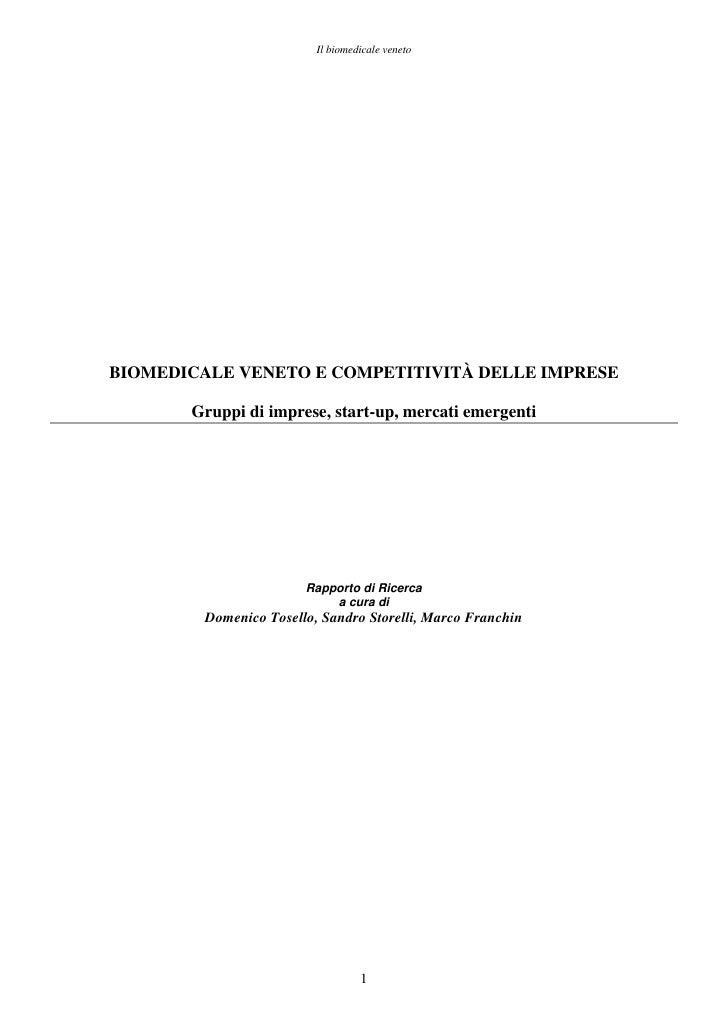 Biomedicale Veneto Competitività Delle Imprese Obv Ricerca 11 08