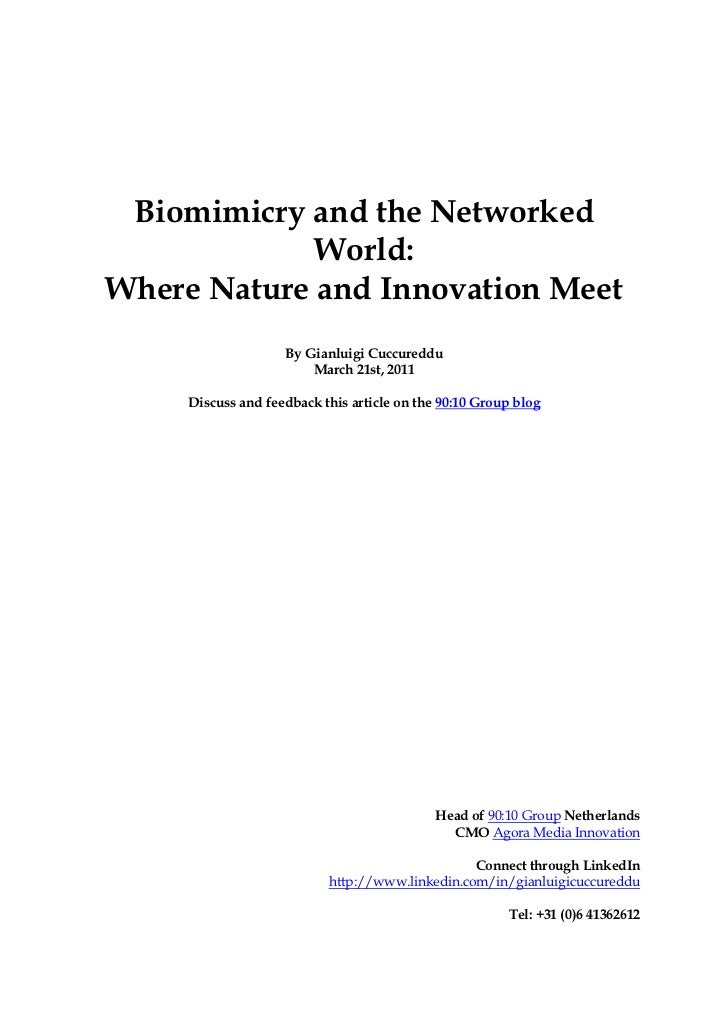 Biomimicry and the Networked             World:Where Nature and Innovation Meet                    By Gianluigi Cuccureddu...