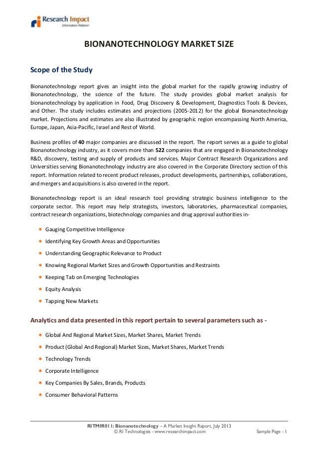 RITMIR011: Bionanotechnology – A Market Insight Report, July 2013 © RI Technologies - www.researchimpact.com Sample Page -...