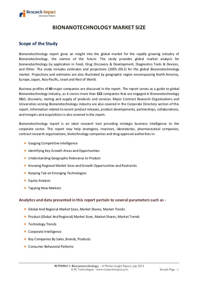 Bionanotechnology market research report