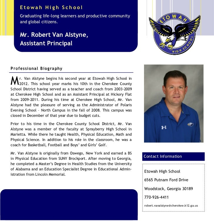 Etowah High School      Graduating life-long learners and productive community      and global citizens.      Mr. Robert V...