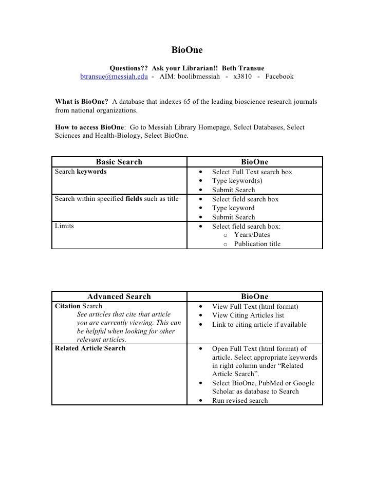 BioOne                   Questions?? Ask your Librarian!! Beth Transue          btransue@messiah.edu - AIM: boolibmessiah ...