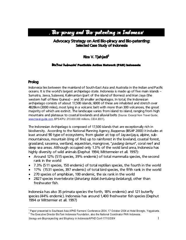 Bio-piracy and Bio-patenting in Indonesia (till 2004)