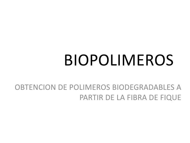 BIOPOLIMEROSOBTENCION DE POLIMEROS BIODEGRADABLES A               PARTIR DE LA FIBRA DE FIQUE