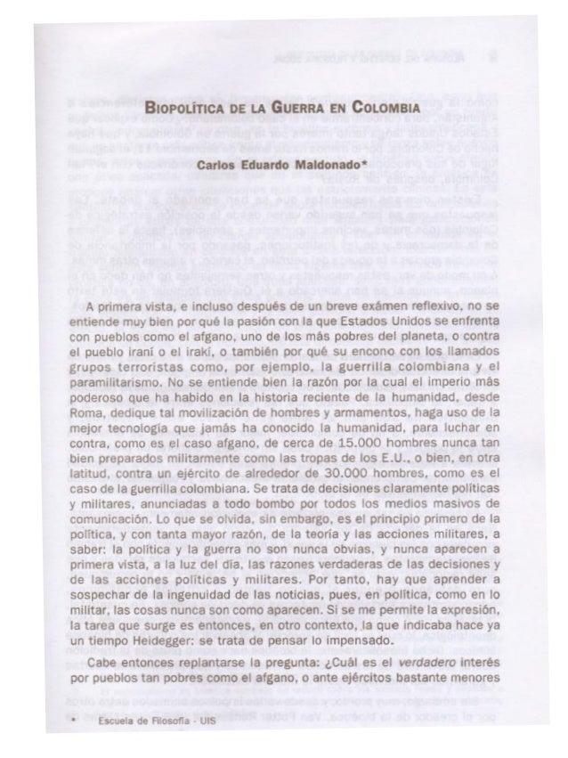 Biopolitica de la guerra en colombia
