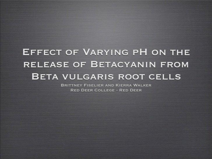 Effect of Varying pH on therelease of Betacyanin from Beta vulgaris root cells      Brittney Fiselier and Kierra Walker   ...