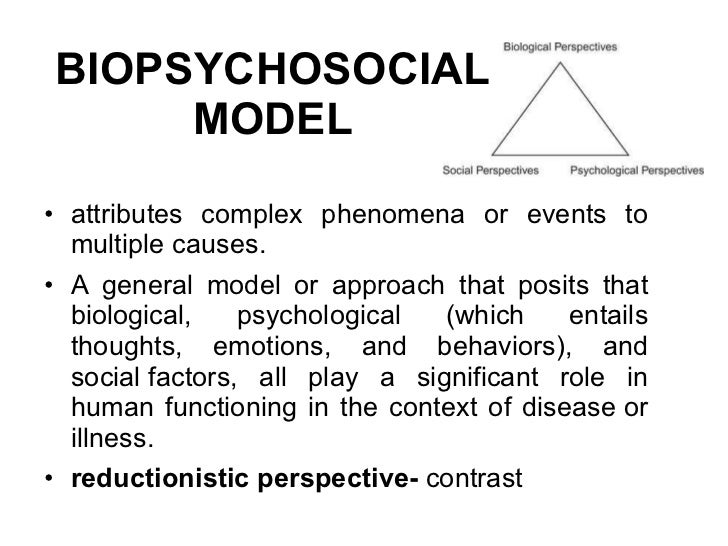 In contrast to the biopsychosocial model, the biomedical model views health as