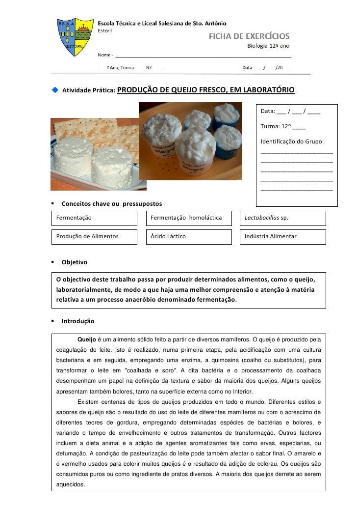 Atividade Prática: PRODUÇÃO DE QUEIJO FRESCO, EM LABORATÓRIO                                                              ...