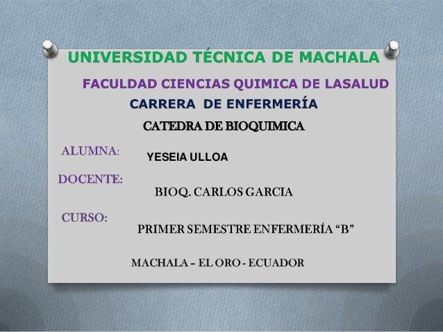 CATEDRA DE BIOQUIMICA YESEIA ULLOA