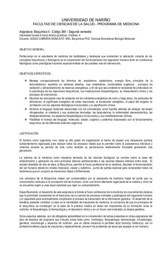 UNIVERSIDAD DE NARIÑO  FACULTAD DE CIENCIAS DE LA SALUD - PROGRAMA DE MEDICINA  Asignatura: Bioquímica II - Código 369 – S...