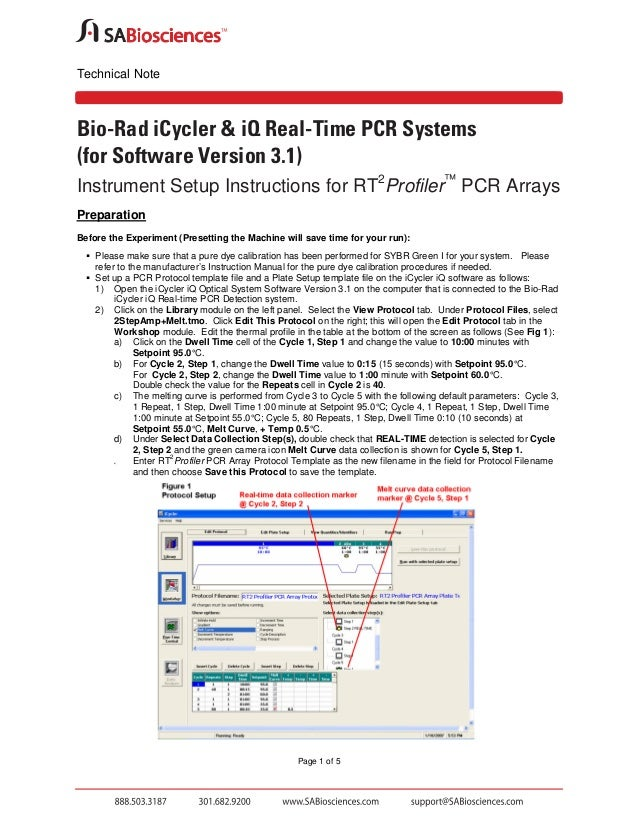 Technical Note  Bio-Rad iCycler & iQ Real-Time PCR Systems (for Software Version 3.1) Instrument Setup Instructions for RT...