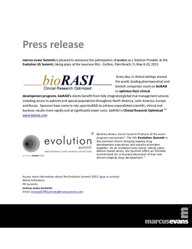 Press releasemarcus evans Summits is pleased to announce the participation of bioRASI as a Solution Provider at theEvoluti...
