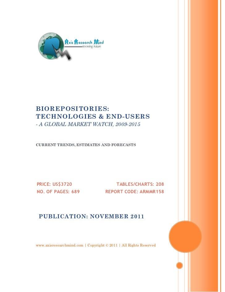 Biorepositories   technologies & end-users, 2009-2015 - broucher