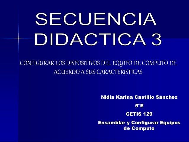 CONFIGURAR LOS DISPOSITIVOS DEL EQUIPO DE COMPUTO DE ACUERDO A SUS CARACTERISTICAS Nidia Karina Castillo Sánchez 5°E CETIS...