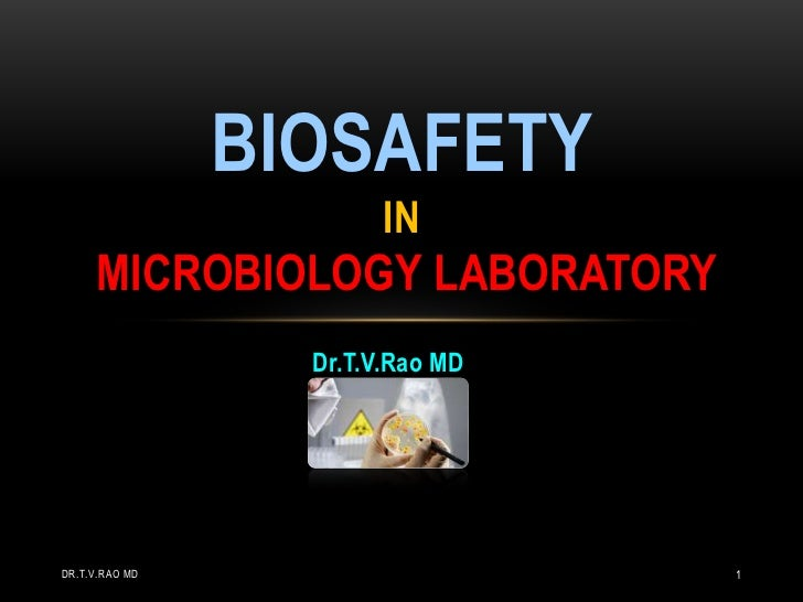 BIOSAFETY                        IN     MICROBIOLOGY LABORATORY                  Dr.T.V.Rao MDDR.T.V.RAO MD               ...