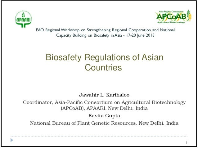 Biosafety Regulations of Asian Countries 2013