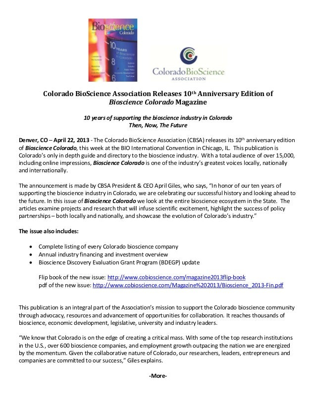 Colorado	BioScience	Association	Releases	10th	Anniversary	Edition	of		Bioscience	Colorado	Magazine	 10 years of s...