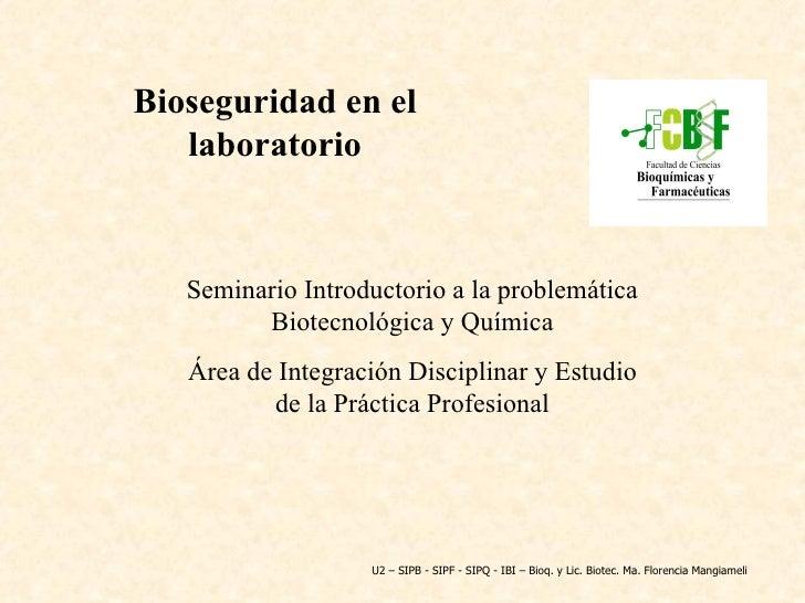 Seminario Introductorio a la problemática Biotecnológica y Química Área de Integración Disciplinar y Estudio de la Práctic...