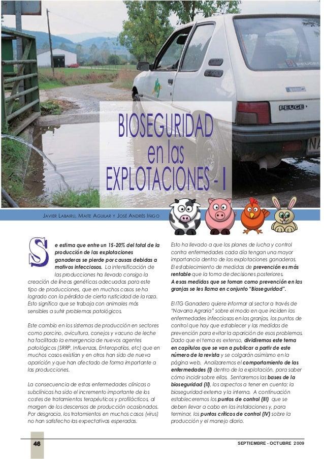 46 SEPTIEMBRE - OCTUBRE 2009 BIOSEGURIDAD enlas EXPLOTACIONES-I JAVIER LABAIRU, MAITE AGUILAR Y JOSÉ ANDRÉS IÑIGO sse esti...