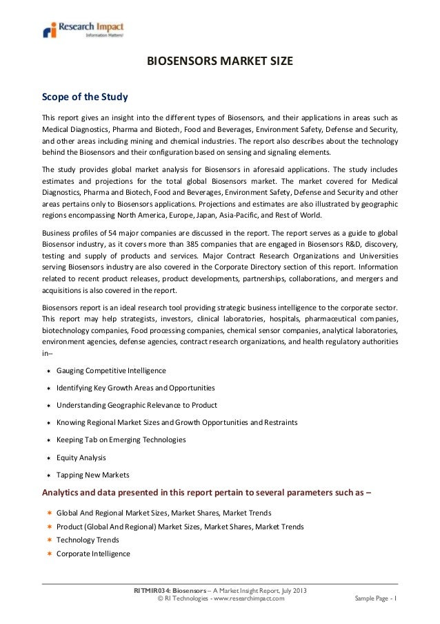 RITMIR034: Biosensors – A Market Insight Report, July 2013 © RI Technologies - www.researchimpact.com Sample Page - 1 BIOS...