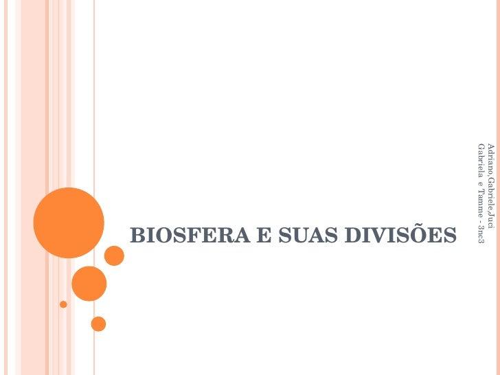 BIOSFERA E SUAS DIVISÕES Adriano,Gabriele,Juciéli,Natasha,Rosana, Gabriela  e Tamme - 3nc3