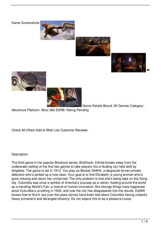 Game Screenshots                                             Game Details Brand: 2K Games Category:Adventure Platform: Xbo...