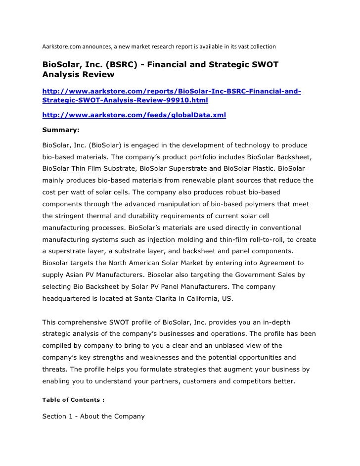 Aarkstore.com announces, a new market research report is available in its vast collectionBioSolar, Inc. (BSRC) - Financial...