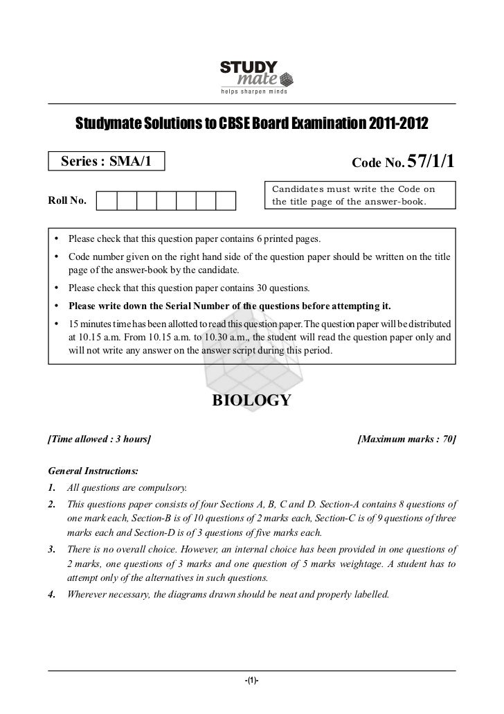 Studymate Solutions to CBSE Board Examination 2011-2012     Series : SMA/1                                                ...