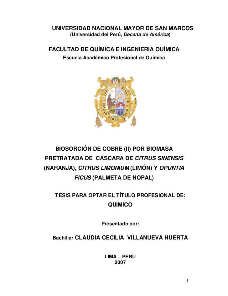 UNIVERSIDAD NACIONAL MAYOR DE SAN MARCOS        (Universidad del Perú, Decana de América) FACULTAD DE QUÍMICA E INGENIERÍA...
