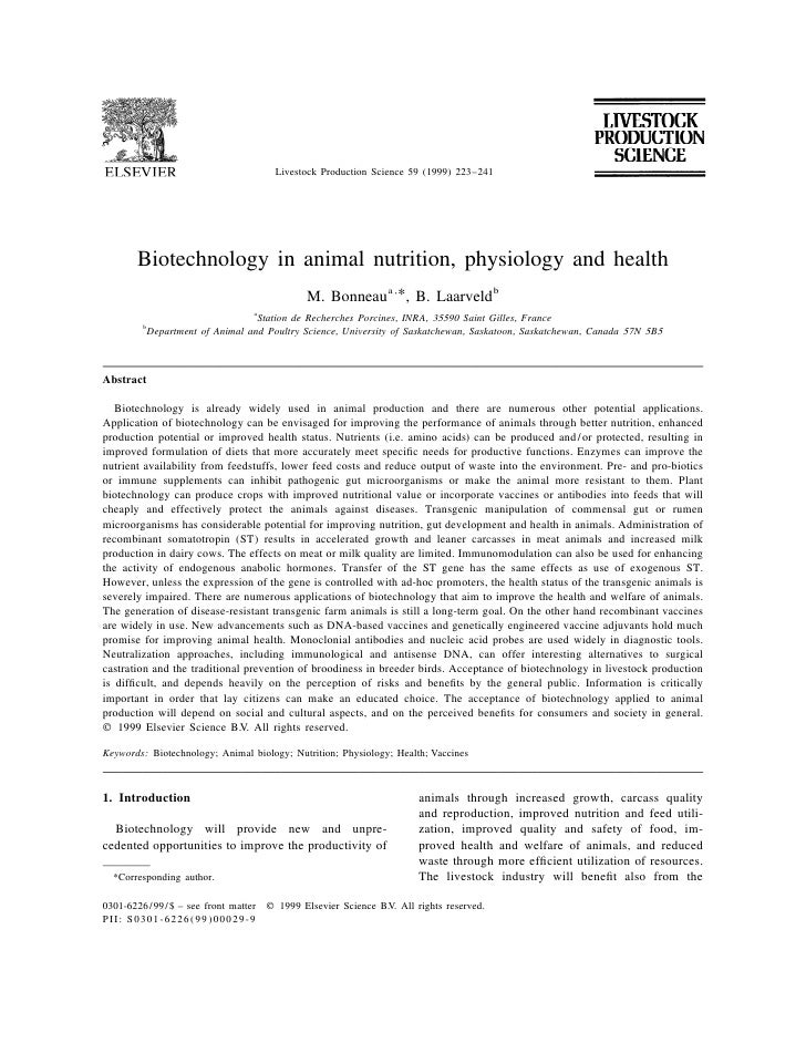 Biotechnology in animal nutrition, physiology and health
