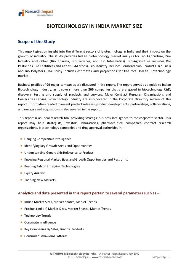 RITMIR018: Biotechnology in India – A Market Insight Report, July 2013 © RI Technologies - www.researchimpact.com Sample P...