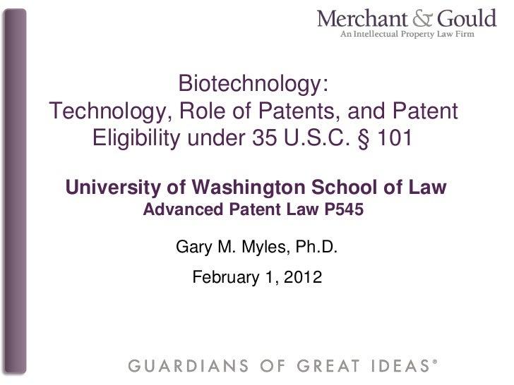 Biotechnology Patent Eligibility