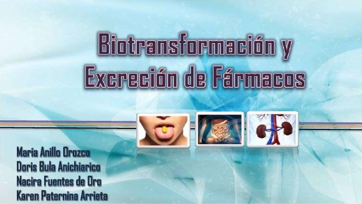 Biotransformación y Excreción de Fármacos                             ELIMINACIÓN        BIOTRANSFORMACIÓN                ...