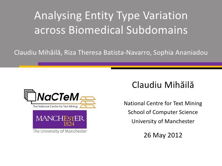 Analysing Entity Type Variation      across Biomedical SubdomainsClaudiu Mihăilă, Riza Theresa Batista-Navarro, Sophia Ana...