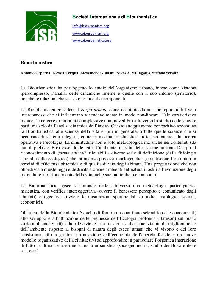 Manifesto Biourbanistica. Antonio Caperna