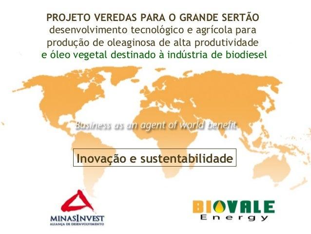 PROJETO VEREDAS PARA O GRANDE SERTÃOdesenvolvimento tecnológico e agrícola paraprodução de oleaginosa de alta produtividad...