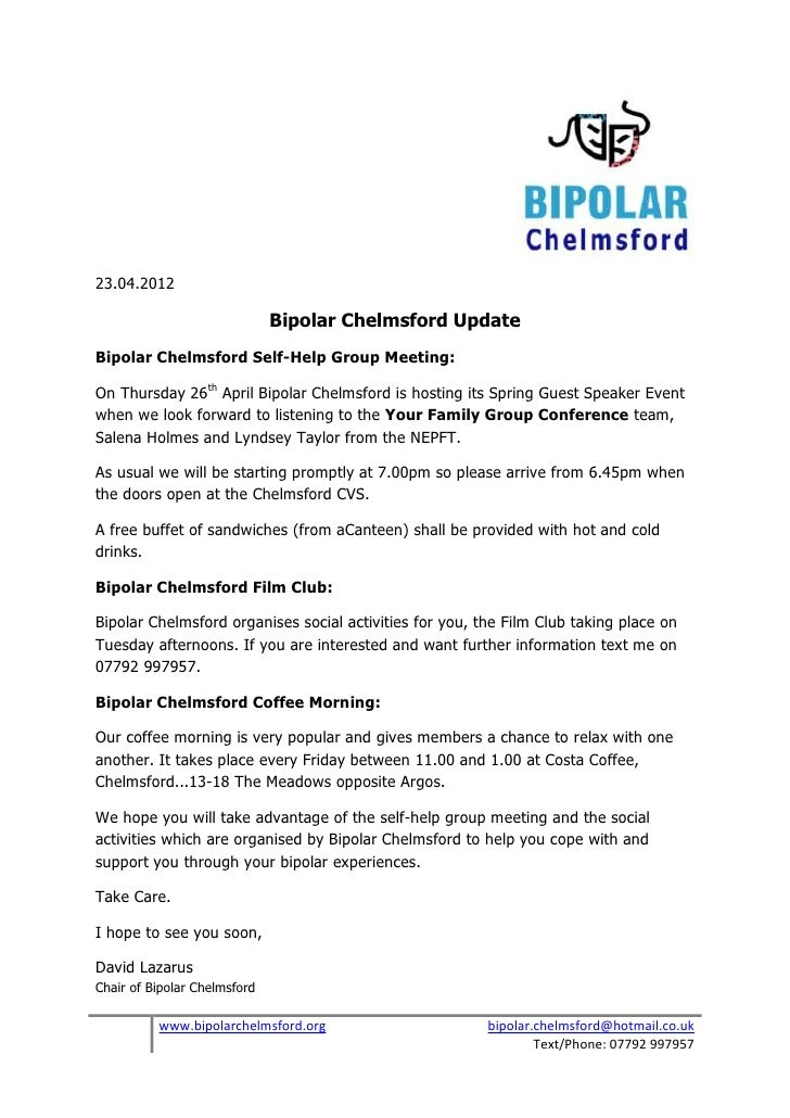 Bipolar chelmsford update 23 04 2012