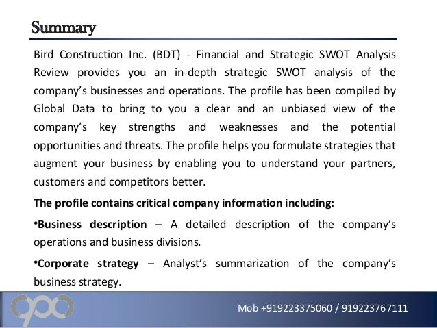 swot analysis of construction company Find construction company reports and industry analysis for market   burmeister & wain scandinavian contractor as - strategic swot analysis  review.