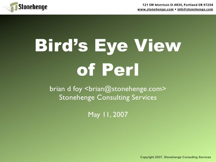 Birds Eye View Of Perl