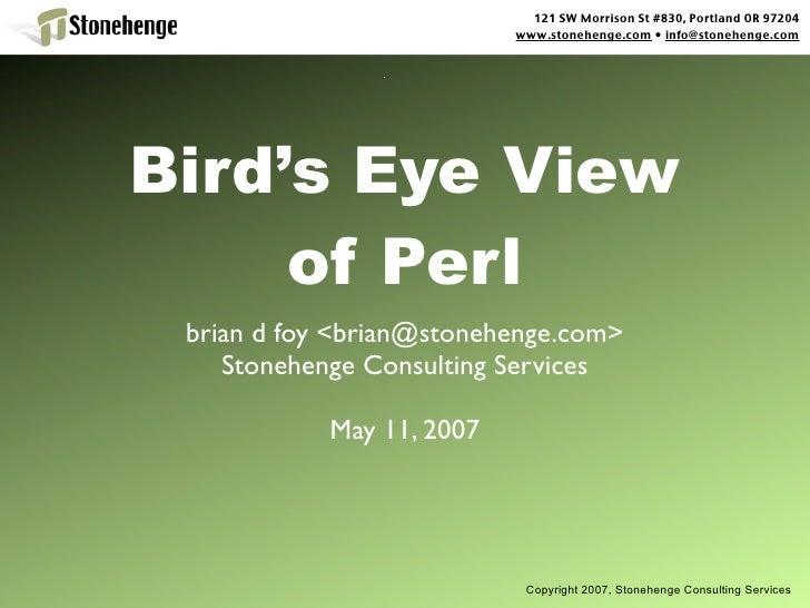 Birds Eye View Of Perl