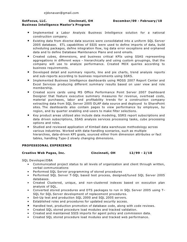 Sql 2005 analysis integration c resume