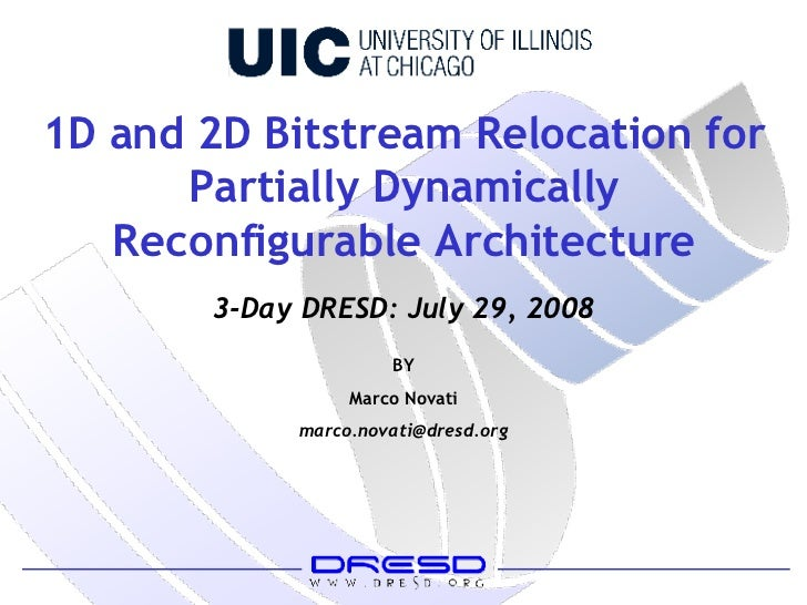 1D and 2D Bitstream Relocation for Partially Dynamically Reconfigurable Architecture BY Marco Novati [email_address] 3-Day...
