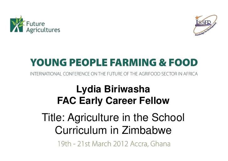 Biriwasha Agriculture in the school curriculum in Zimbabwe
