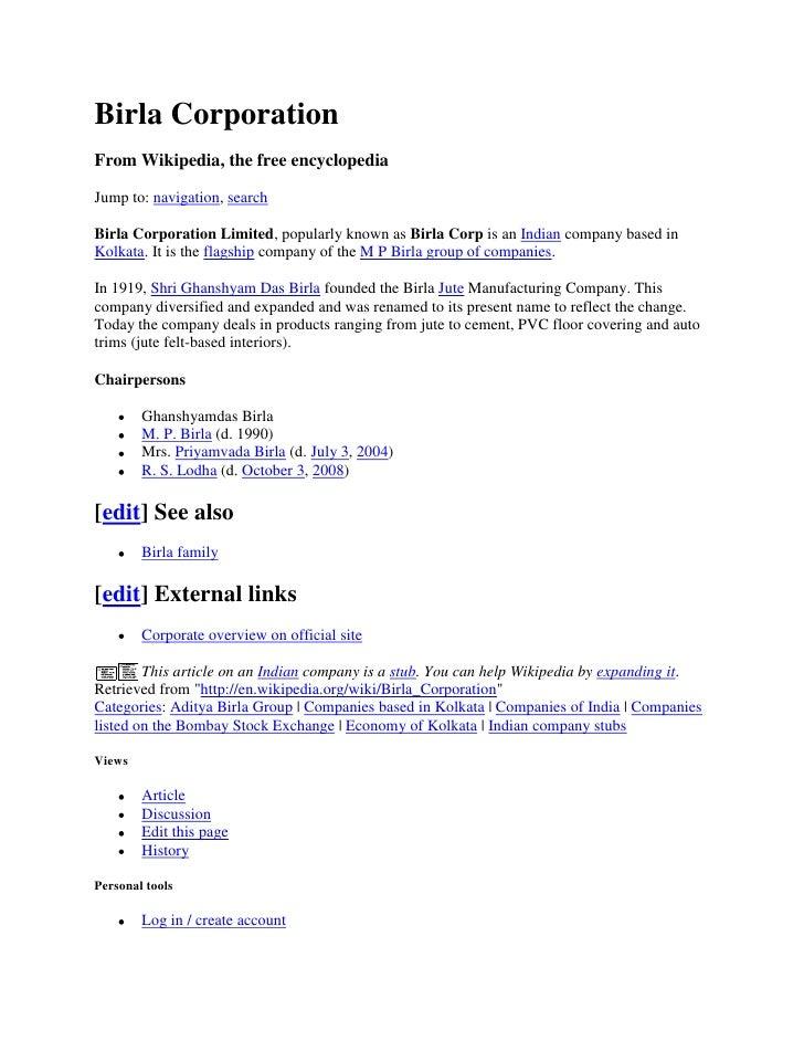 Birla Corporation From Wikipedia, the free encyclopedia  Jump to: navigation, search  Birla Corporation Limited, popularly...