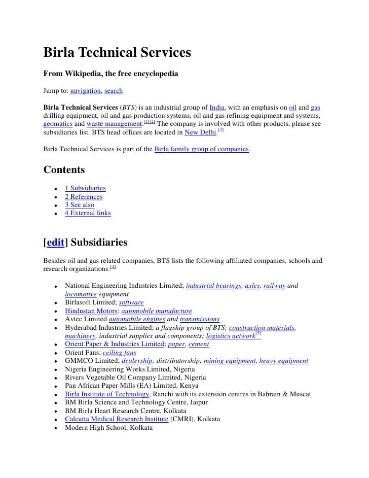 Birla Technical Services From Wikipedia, the free encyclopedia  Jump to: navigation, search  Birla Technical Services (BTS...