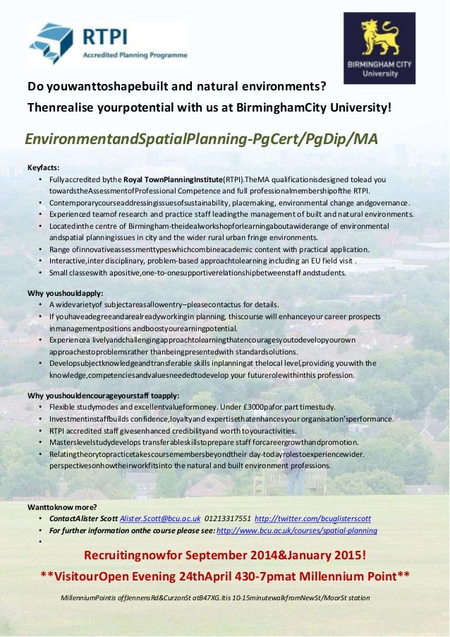Birmingham city university MA Environment & Spatial Planning flyer