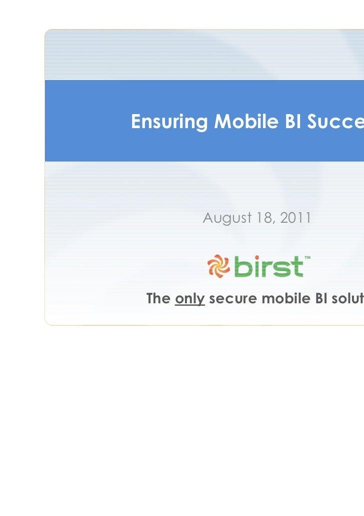 Ensuring Mobile BI Success