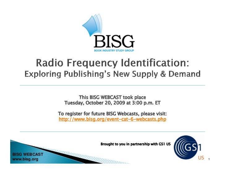 BISG WEBCAST -- Radio Frequency Identification