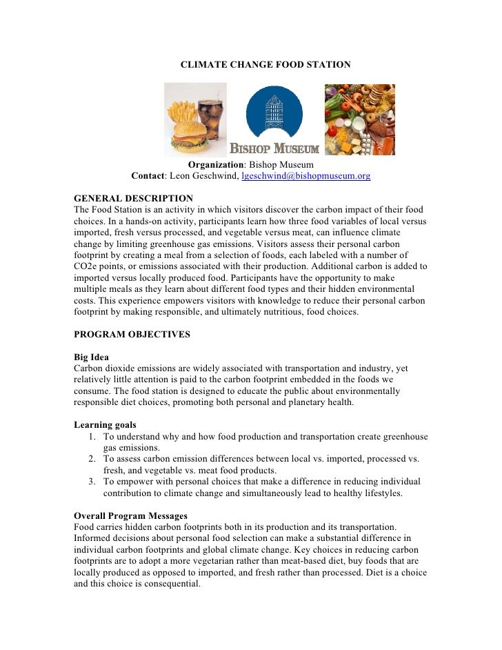 CLIMATE CHANGE FOOD STATION                                Organization: Bishop Museum               Contact: Leon Geschwi...